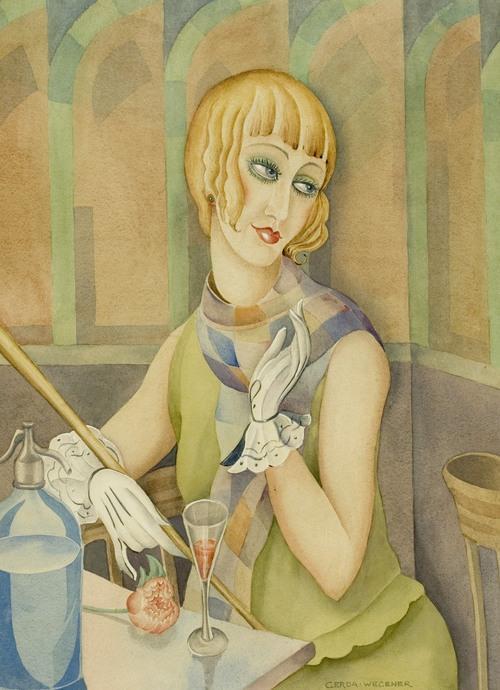 [Πίνακας ζωγραφικής που απεικονίζει τη Lili Elbe, φιλοτεχνημένο από την πρώην σύζυγο της Gerda Gottileb.]