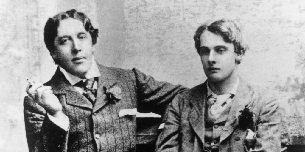 Irish dramatist Oscar Wilde (1854 - 1900) with Lord Alfred Douglas (1870 - 1945) at Oxford, 1893. (Photo by Hulton Archive/Getty Images)