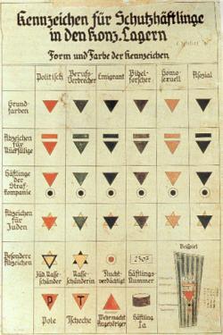 """--Το ροζ τρίγωνο (δεύτερη στήλη από τα δεξιά) ήταν το αναγνωριστικό σήμα για τους ομοφυλόφιλους άνδρες στα στρατόπεδα συγκέντρωσης, όπως φαίνεται σε αυτό το αχρονολόγητο διάγραμμα με τίτλο «Διακριτικά Σήματα για τους Κρατούμενους Προστατευτικής Κράτησης». Εκτός από το βασικό σήμα (στην κορυφή), διαφοροποιήσεις του σημείωναν τους κατ' επανάληψη """"παραβάτες"""", τους φυλακισμένους σε τάγματα τιμωρίας και τους ομοφυλόφιλους Εβραίους. Τα άλλα χρώματα ήταν τα χαρακτηριστικά πολιτικών κρατουμένων, ήδη καταδικασμένων εγκληματιών, μεταναστών, μαρτύρων του Ιεχωβά και των λεγόμενων «ακοινώνητων»--"""