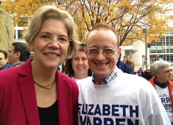 Jay Kallio with Massachusetts Senator Elizabeth Warren. | FACEBOOK.COM