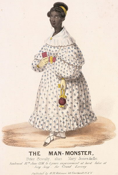 A really transmisogynistic lithograph printed in New York newspapers during Jones' trial.