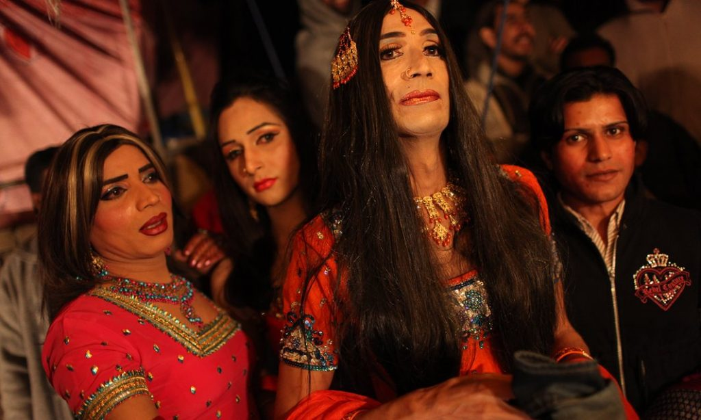 Pakistani hijras, at a function on the outskirts of Rawalpindi, the garrison city that is home to the headquarters of Pakistan's powerful military. Photograph: Declan Walsh