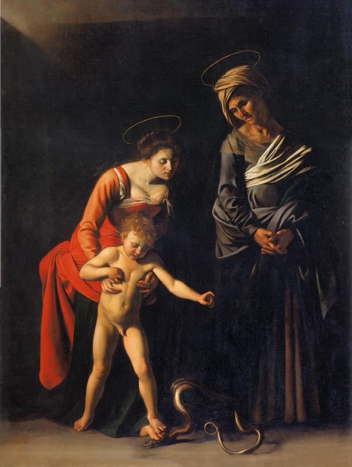 Παναγία με το φίδι, 1605-1606, 292x211 εκ., Πινακοθήκη Μποργκέζε, Ρώμη