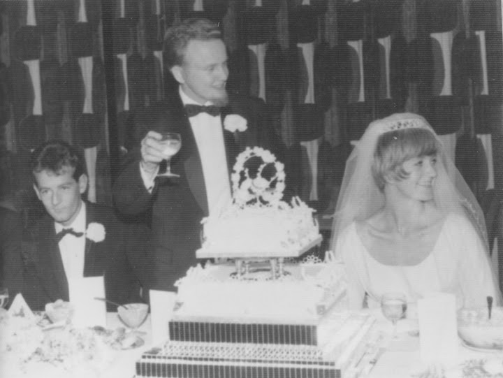 Reed Erickson with wife at marriage reception. Circa late 1960s.