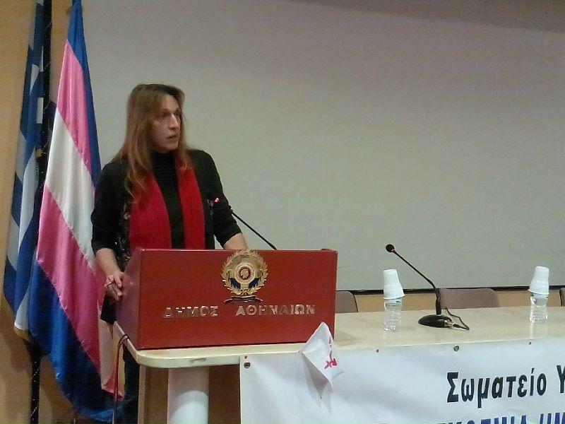 Η πρόεδρος του Σωματείου Υποστήριξης Διεμφυλικών, κ. Μαρίνα Γαλανού. (Photo: Άννα Απέργη)