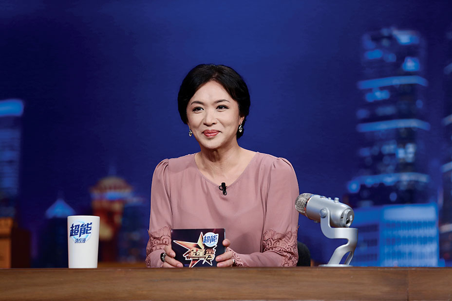 Jin on the set of her weekly variety program, The Jin Xing Show, which garners an estimated 100 million viewers per week.
